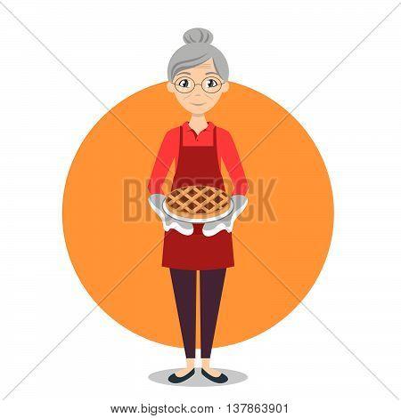Vector illustration of grandma with sweet pie in her hands.