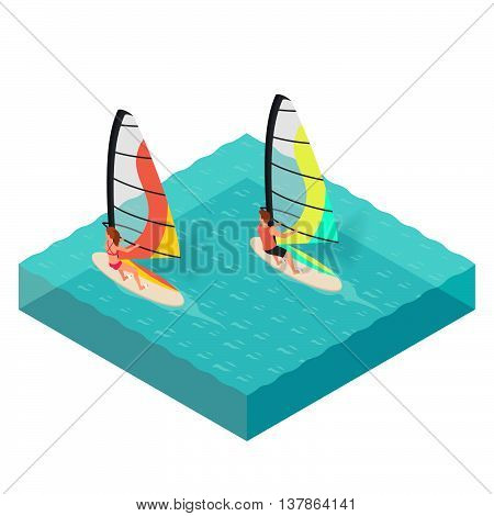 Vector isometric illustration of windsurfers. Man and woman on vacation. Concept for extreme sport. Windsurfing. Sea. Summer vacation.