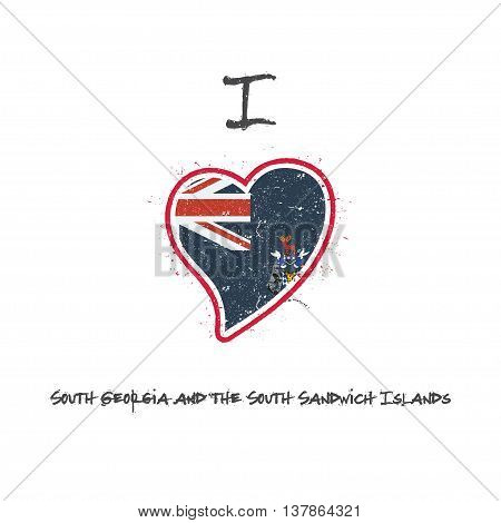 South Georgia And The South Sandwich Islander Flag Patriotic T-shirt Design. Heart Shaped National F