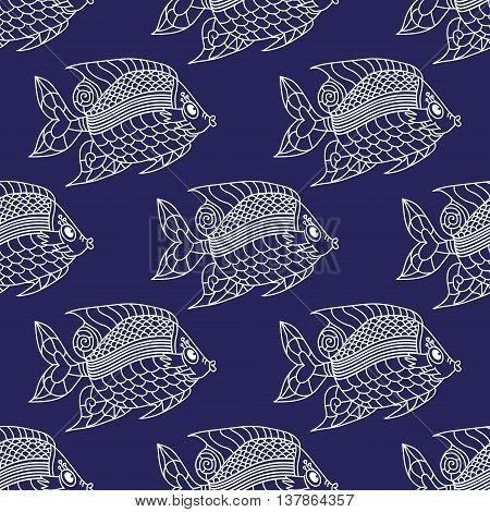 Fish Engraved Seamless Pattern. Vector illustration. Can be used for wallpaper, pattern fills, web page background, surface textures.
