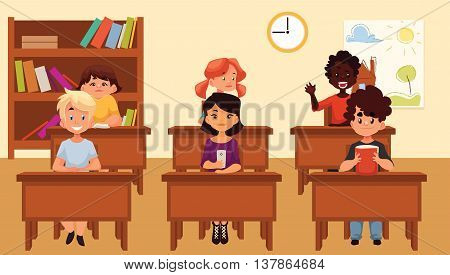 Cartoon vector illustration of school kids studying in classroom. Diverse school children sitting at their desks in classroom. Lesson on primary school