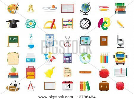 Vector illustration of school education icons