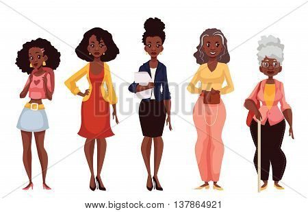 Set of black women of different ages from adolescence youth to maturity and old age, vector illustration isolated on white background. Various generations at African American women