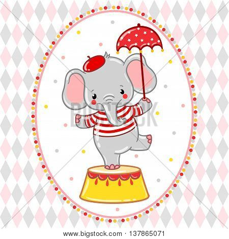 Children vector illustration of a cute Circus elephant standing on a circus tub.