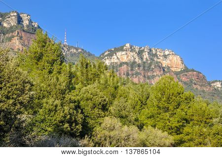 Hiking view of forested mountains on the background of cloudless sky. Catalonia Spain.