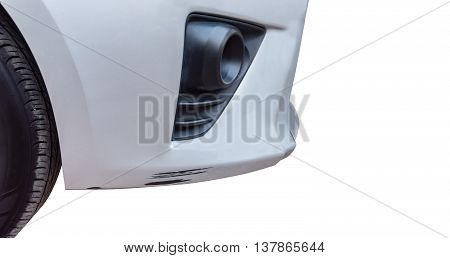 Details of a gra car in an accident. Isolated on white background with copy space