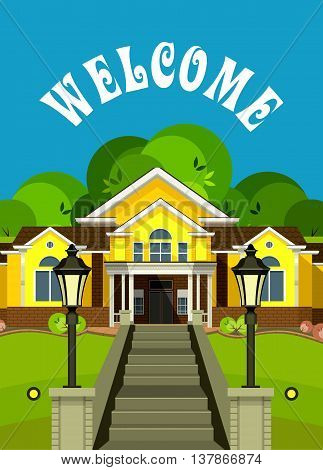 vector illustration Flyer or Cover Vacation Home grand staircase decorated streetlights