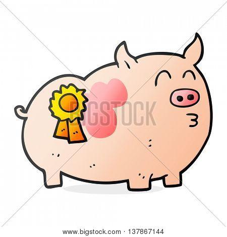 freehand drawn cartoon prize winning pig