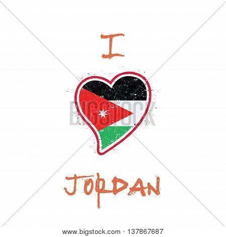 Jordanian Flag Patriotic T-shirt Design. Heart Shaped National Flag Jordan On White Background. Vect