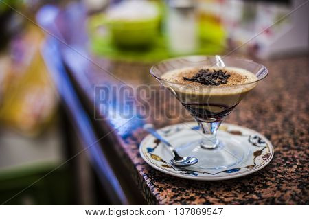 cold coffee cream in a bar with chocolat