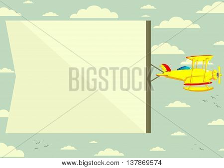 Biplane with a banner in the sky. Vector illustration.