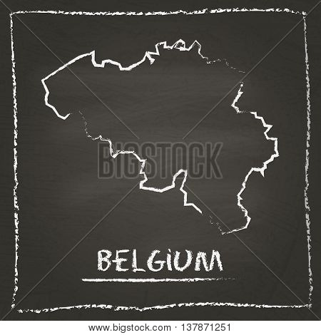Belgium Outline Vector Map Hand Drawn With Chalk On A Blackboard. Chalkboard Scribble In Childish St
