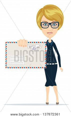 Young business woman holding a envelope letter in her hand. Stock vector illustration