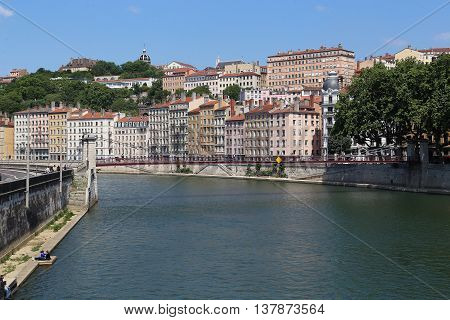 LYON, FRANCE - MAY 24, 2015: This is view of the hill of the Croix-Rousse in Lyon from the Saone River.