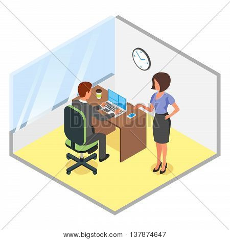 Vector isometric illustration of modern business office. Discussion of business project. Office business man woman people job modern business office.