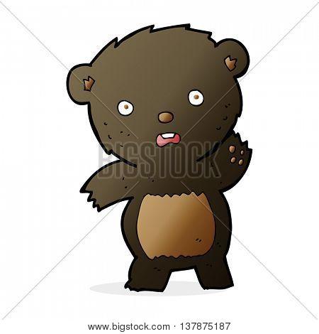 cartooon waving black bear cub