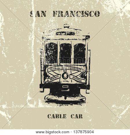 Vintage vector hand drawn San Francisco cable car.