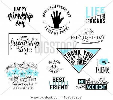 Vector illustration of Happy Friendship day vector typography design. Inspirational motto quotes about friendship. Used as greeting cards, felicitation posters, print clothing, t-shirt for your friends.