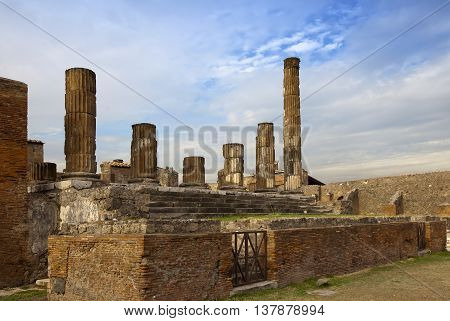 Italy. Ruins of Pompeii in a sunny day