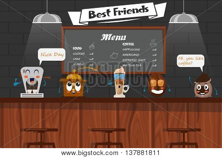 Funny best friends of barista with cartoon coffee bean latte grinder maker on bar counter vector illustration
