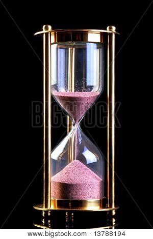 Hourglass Sand Timer On Black