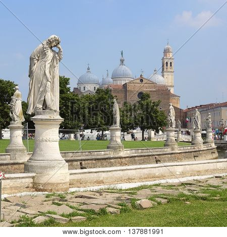 PADOVA, ITALY - JULY, 9, 2016: St. Anthony Cathedral in Padova, Italy. Veiw from Prato della Valle