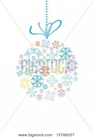 Vector illustration of evening ball made of snowflakes