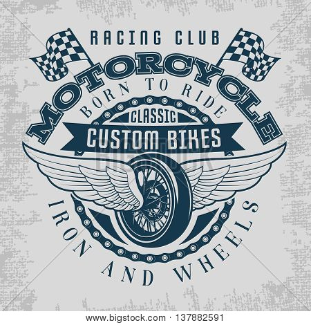 Wheel and wings print with descriptions of racing club classic custom bikes iron and wheels vector illustration