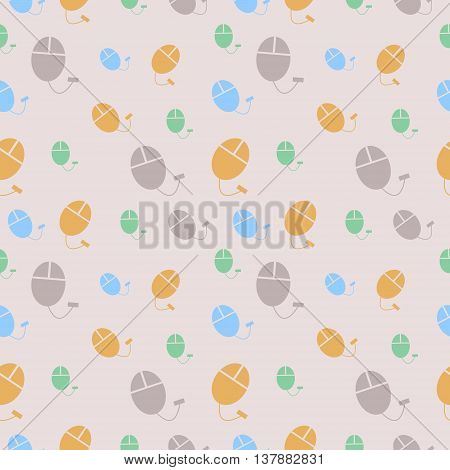 Vector seamless pattern chaotic pastel colorful background with PC mouse