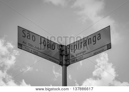Sign Of A Famous Street In Downtown Of Sao Paulo