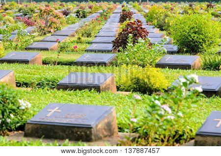 Kanchanaburi War Cemetery (Don Rak) is the historical monuments of allied prisoners of the World War II who died during the construction of the Death Railway in Kanchanaburi Province Thailand