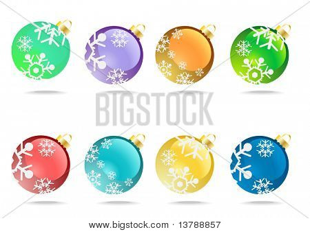 Vector illustration of collection of christmas balls with snowflakes