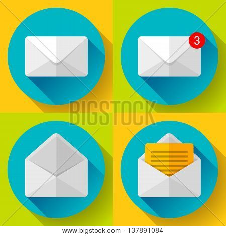 Set Open Envelope Mail Icon new letter sms message notification Flat 2.0 design style