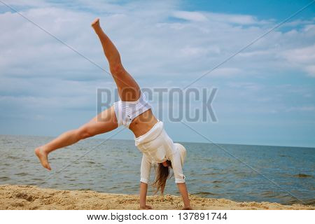 Happy Woman On Summer Beach.