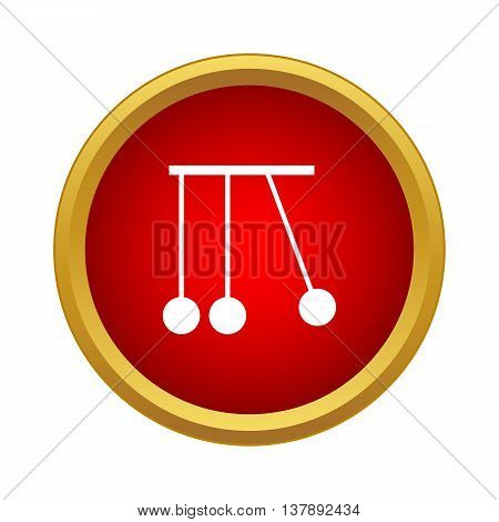 Pendulum of Newton icon in simple style in red circle. Mechanical system symbol