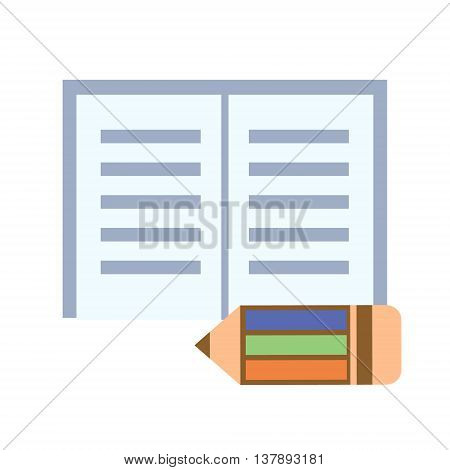 Vector illustration. Icons of colorful pencil and notepad isolated over white background