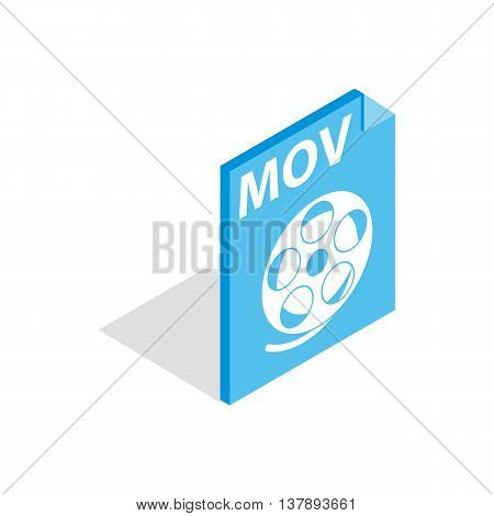 MOV video file extension icon in isometric 3d style isolated on white background