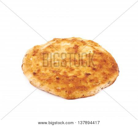 Cottage cheese flapjack flat cake isolated over the white background