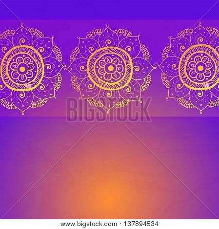 Vintage invitation card on grunge purple background with lace gold ornament. Template frame design for card. Can be used for packaging wedding invitations Valentine's Day decoration