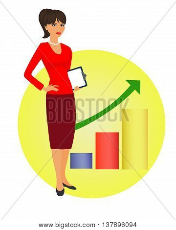 Political strategist is standing on the background of the rising graph. Specialist in public relations coordinator PR Manager and etc. Isolated vector illustration. Vertical location.