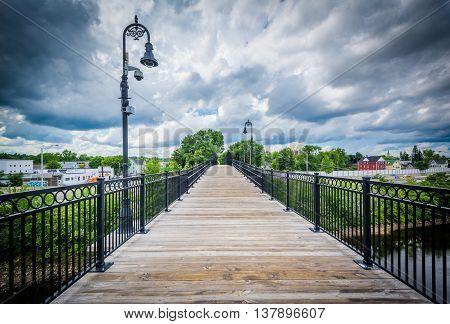 Pedestrian Bridge Over The Merrimack River,  In Manchester, New Hampshire.