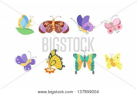 Cute flat butterfly vector. Flat butterfly isolated on white background. Different hand made style butterfly insects vector illustration. Baby kids butterfly insects