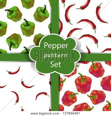 Seamless pattern set with polygonal peppers. Pepper background. Bell pepper, chili pepper pattern collection. Vector bulgarian and spise pepper drawing. Eps 10
