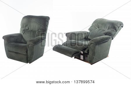 Dark green convertible foding chair with legs holder isolatd on white background