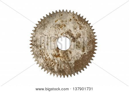 Rusty circular saw blade, isolated on white background
