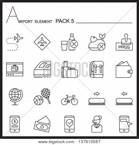 Airport Element Line Icon Set 5.Mono pack.Graphic vector logo set.Pictogram design.