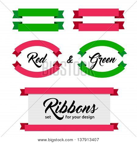 Design elements - Set of flat ribbons and banners. Different shapes. Vector illustration. Flat style. Ribbons isolated on white. Green and red web banners.