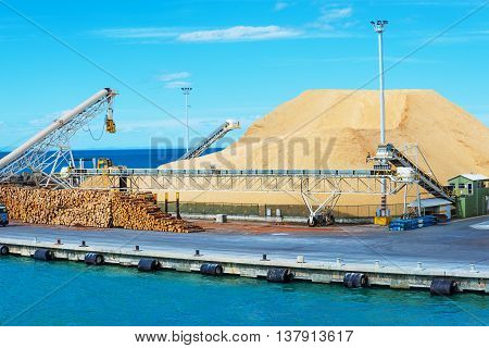 pile of timbers at the port ready for loading