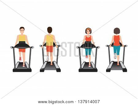 Young adult man and woman running on treadmill sport fitness athletics healthy lifestyle. Cartoon character Vector illustration.