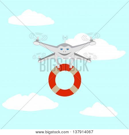 Drone and lifeline. Rescue on the water. Series cartoon Drones